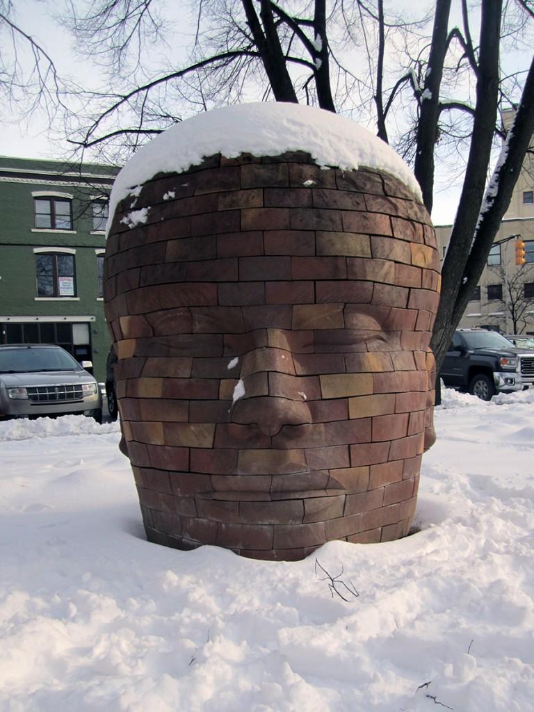 February 20th. Brick head with snow hair.