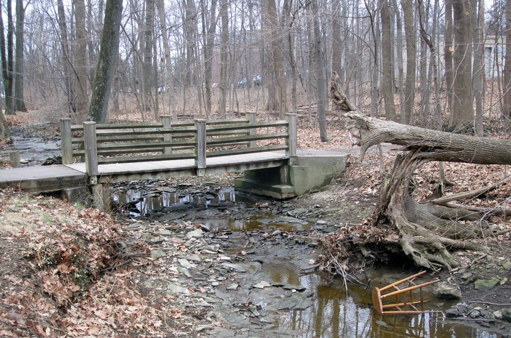 March 3rd. Bridge and broken stool. Indiana University.
